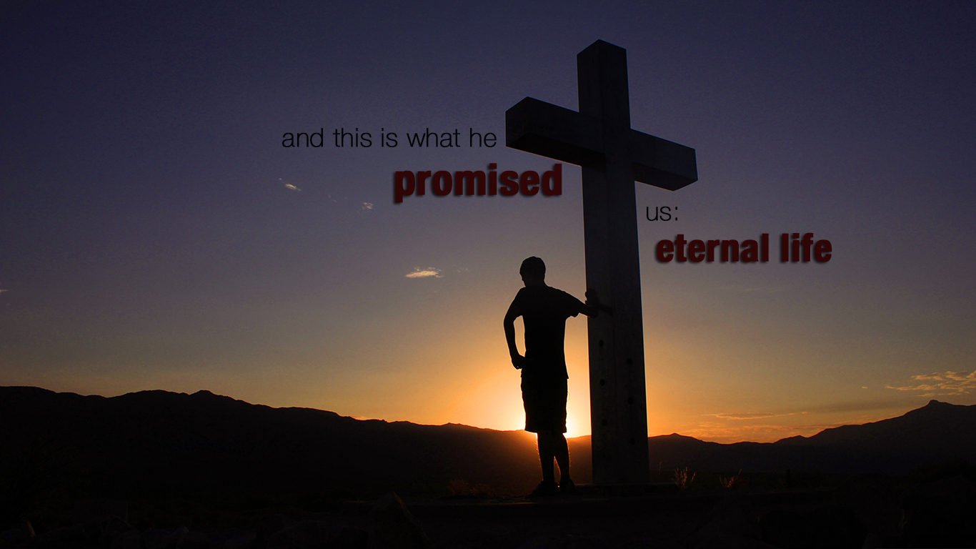 cross man this is what he promised us eternal life christian wallpaper_1366x768