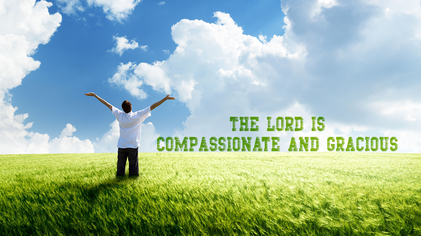 the Lord is compassionate and gracious open arms christian wallpaper_1366x768