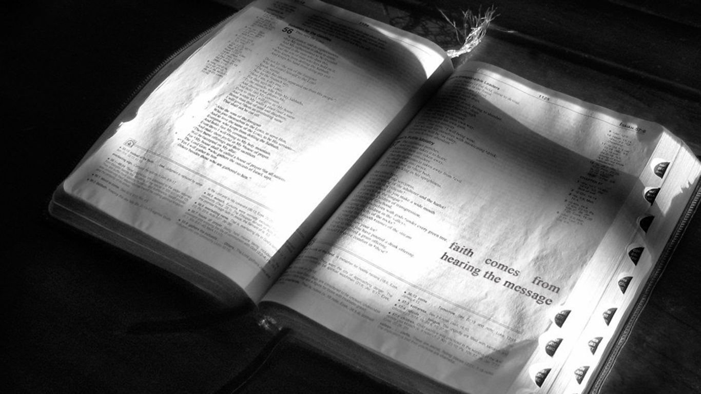 faith comes from hearing the message open bible christian wallpaper hd_1366x768
