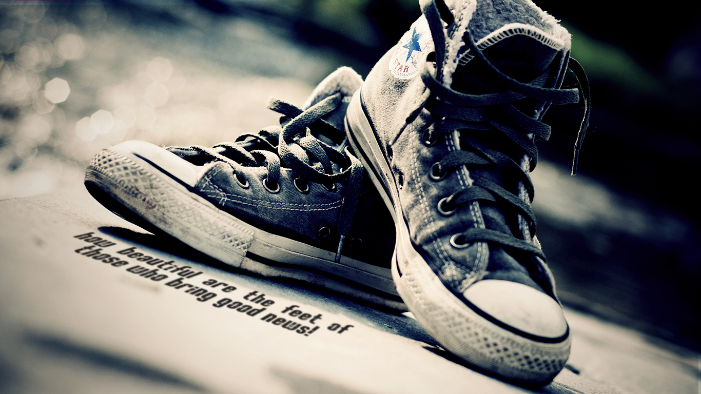 how beautiful are feet those who bring good news sneakers christian wallpaper hd_1366x768