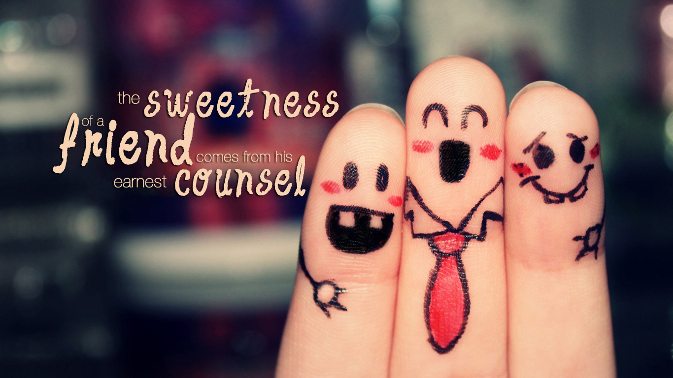 the sweetness friend comes from his earnest counsel christian wallpaper hd_1366x768
