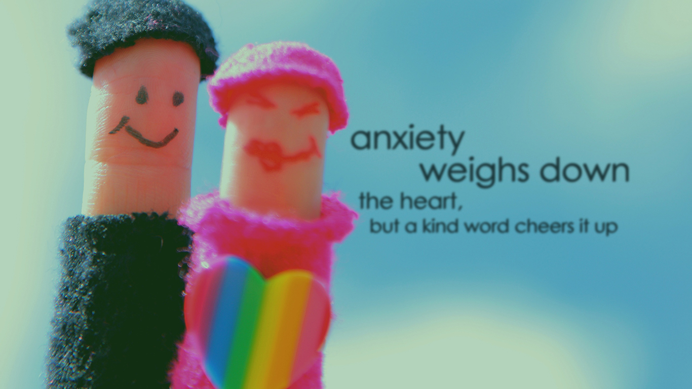 anxiety weighs down the heart but kind word cheers it up christian wallpaper hd_1366x768