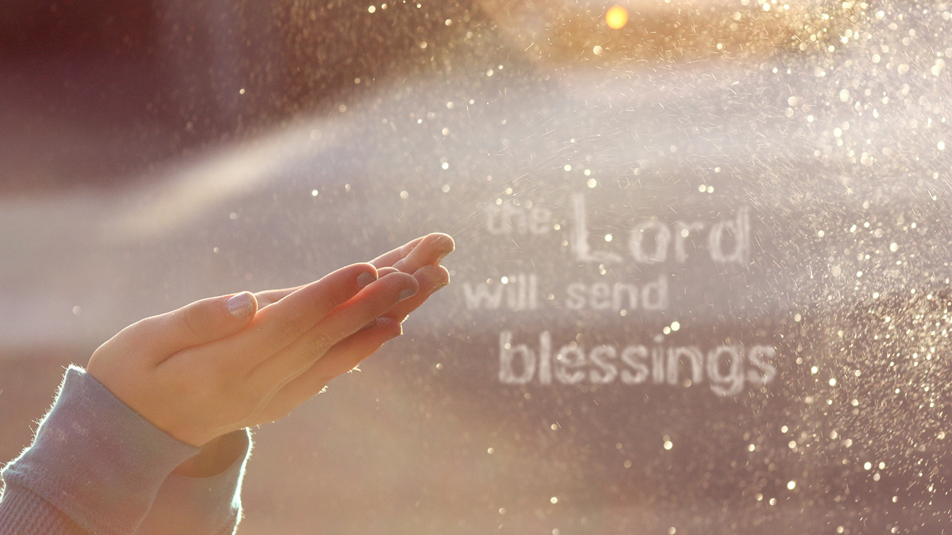 the Lord will send blessings hands christian wallpaper hd_1366x768