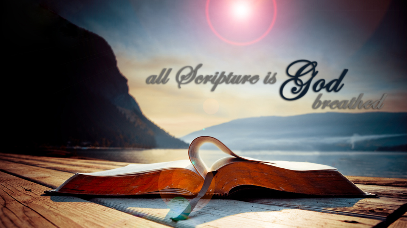 All Scripture is God breathed open biblie christian wallpaper hd_1366x768