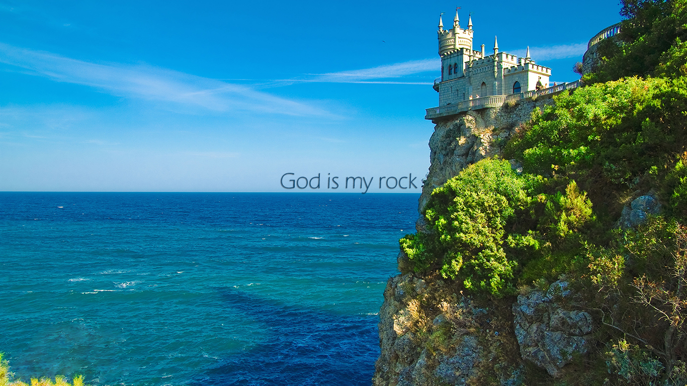 God is my rock castle christian wallpaper hd_1366x768