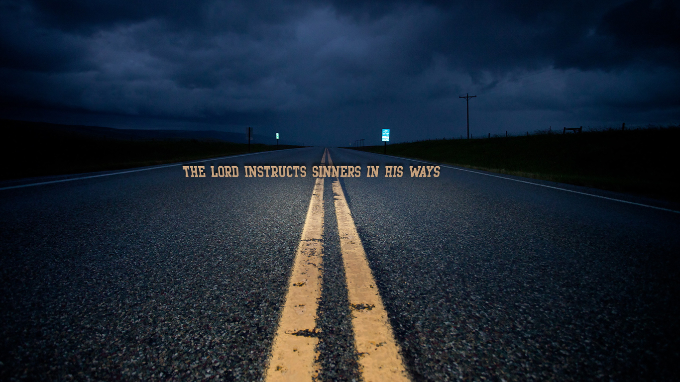 the Lord instructs sinners in his ways path road light christian wallpaper hd_1366x768