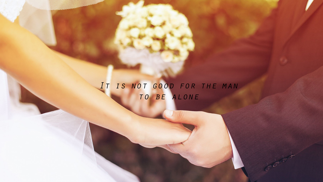 It is not good for the man to be alone couple christian wallpaper hd_1366x768