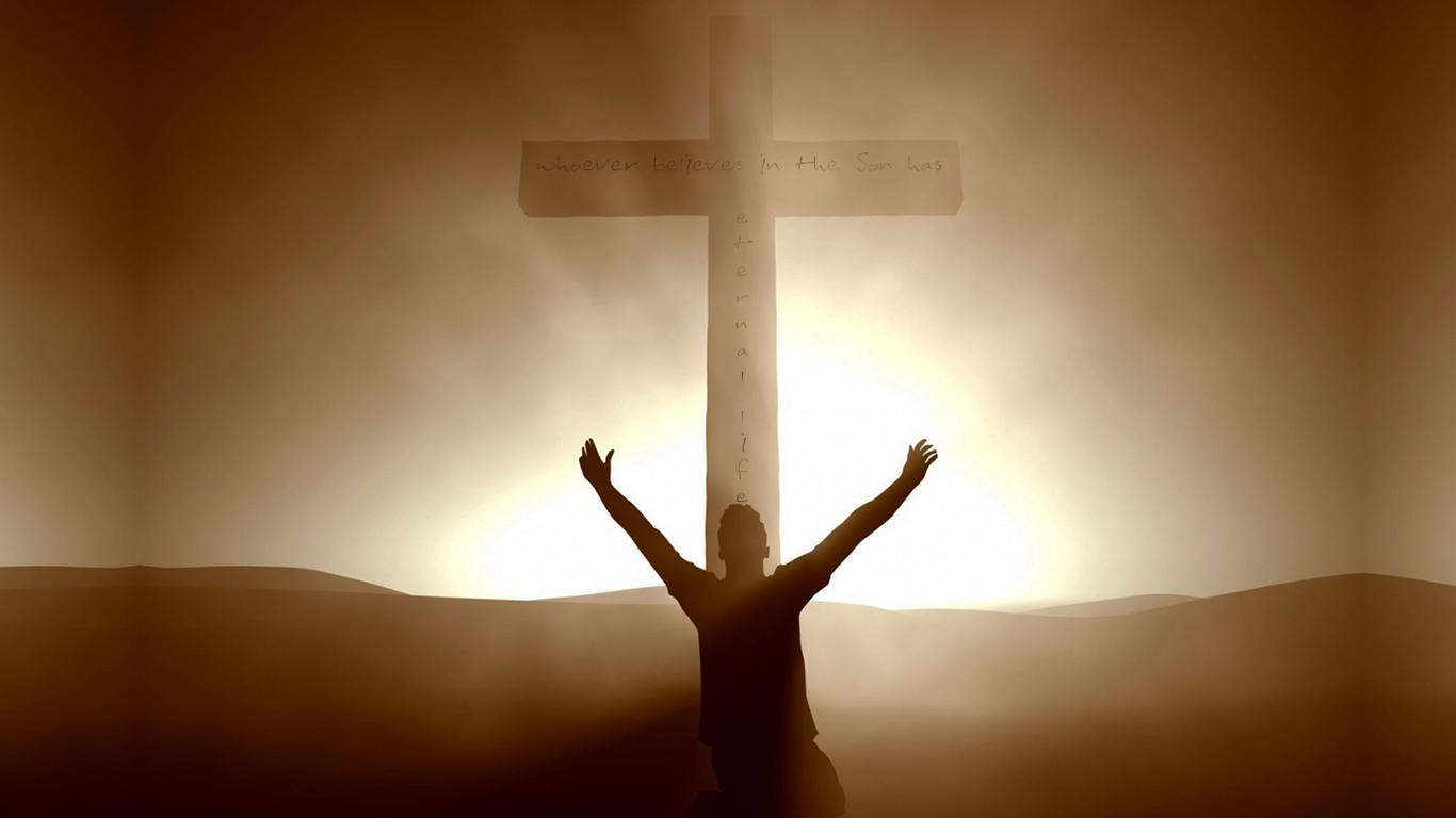 Whoever believes Son has eternal life cross christian wallpaper hd_1366x768