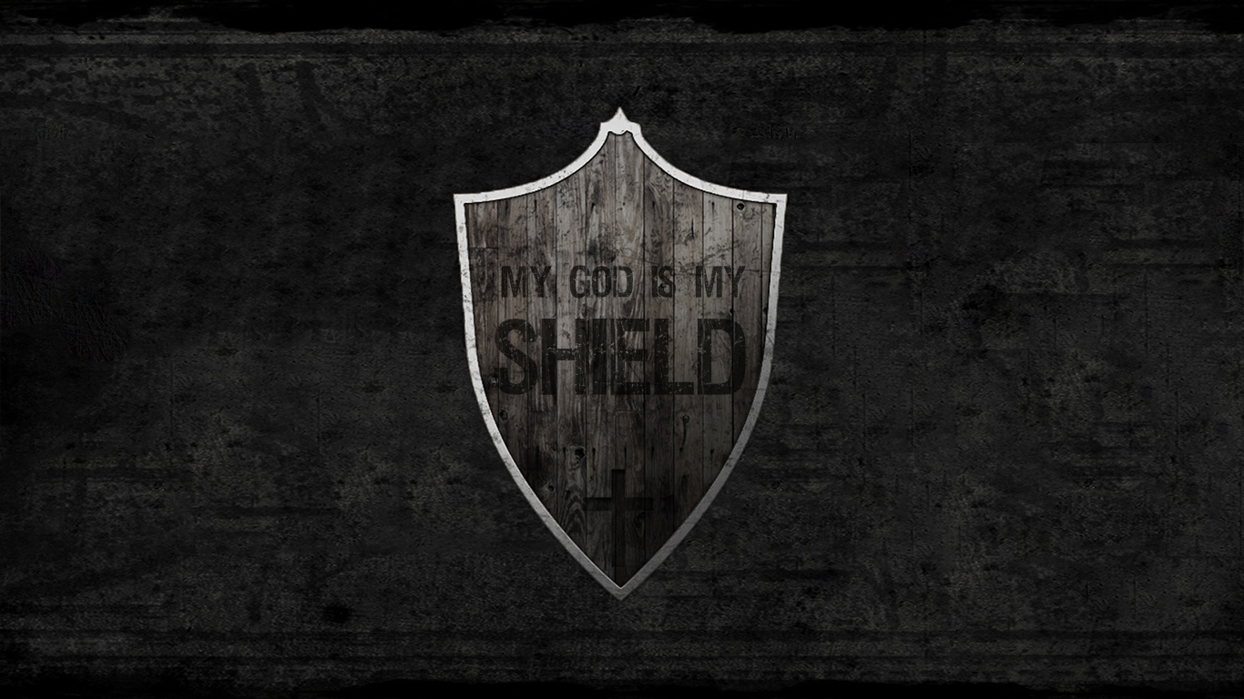 my God is my shield wood christian wallpaper_1366x768