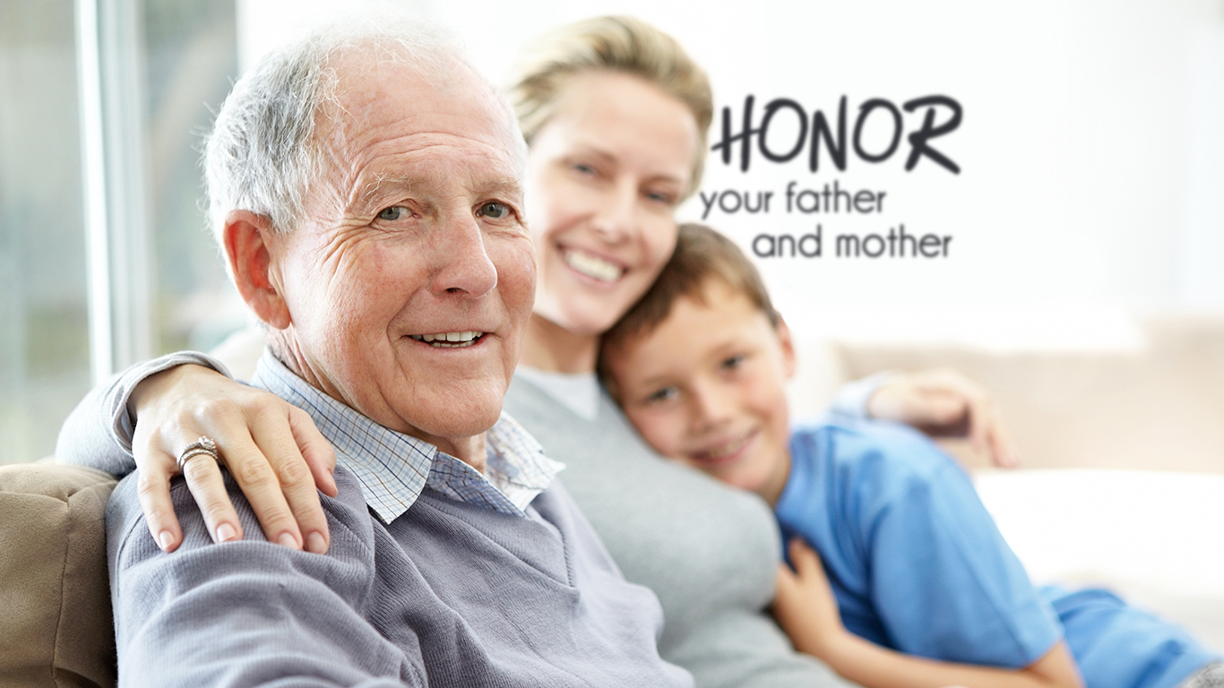 honor your father and mother family christian wallpaper hd_1366x768