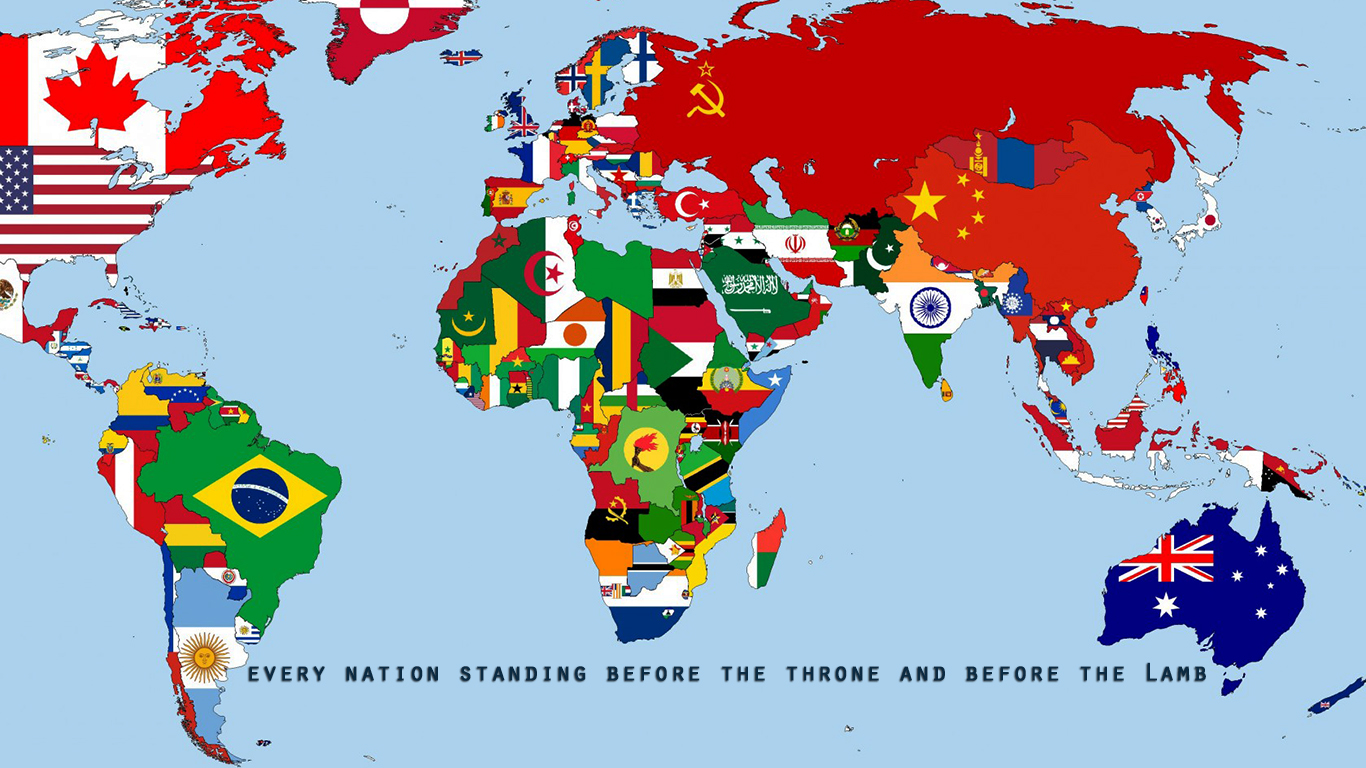 every nation standing before the throne and before the Lamb flags christian wallpaper_1366x768
