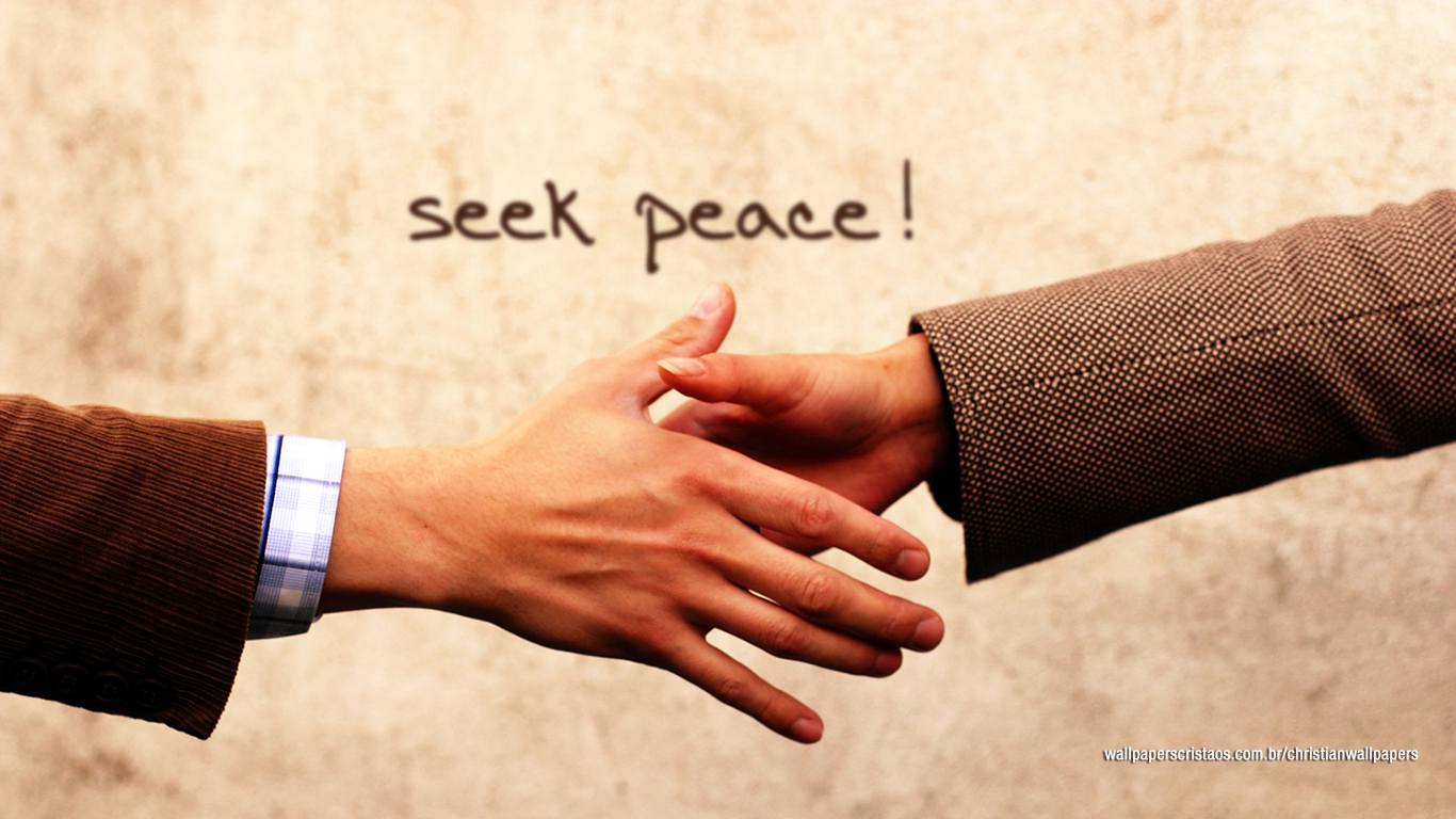seek peace handshake christian wallpaper hd_1366x768