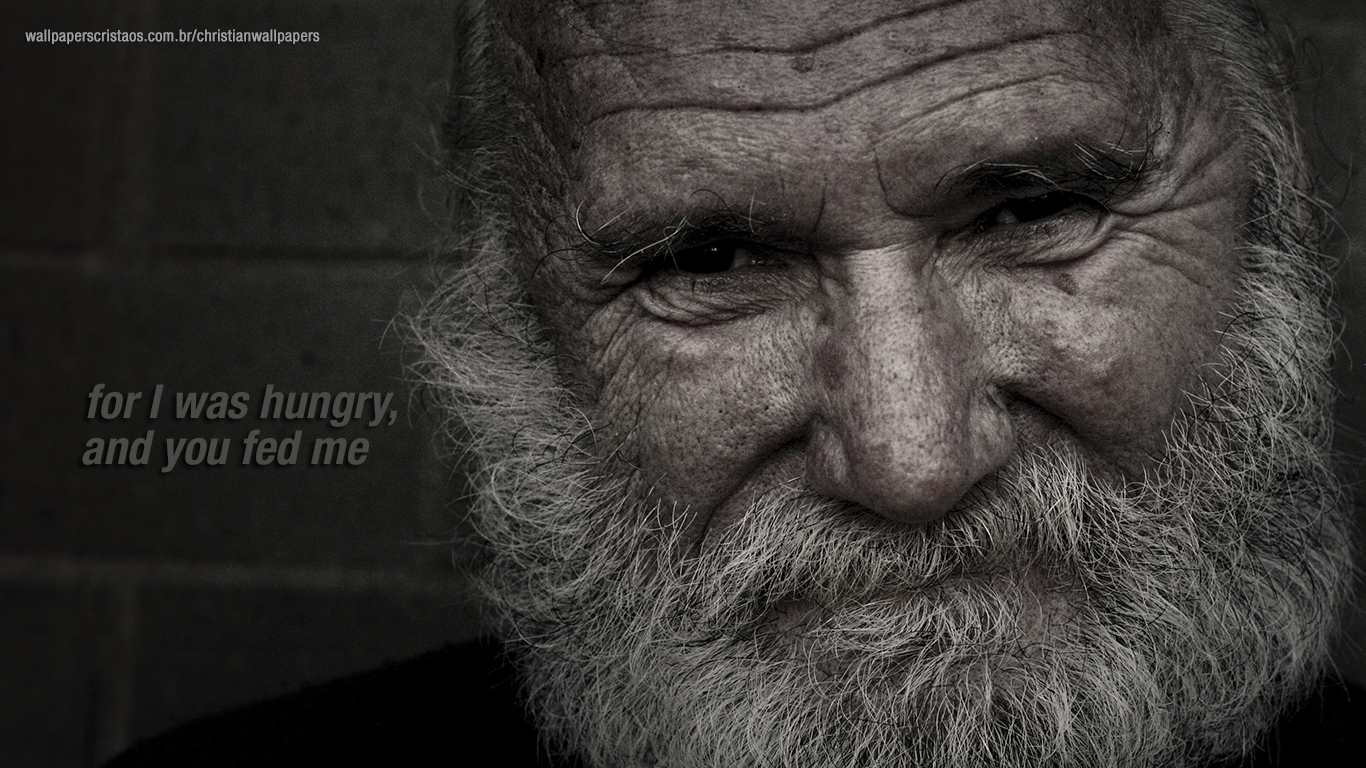 For I was hungry and you fed me christian wallpaper hd_1366x768