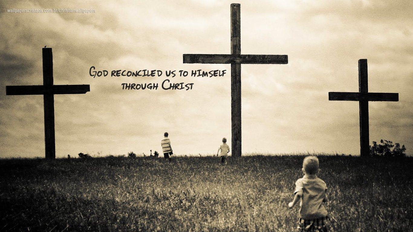 God reconciled us to himself through Christ cross christian wallpaper_1366x768