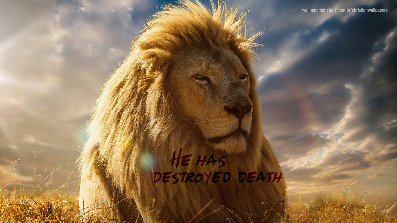 He has destroyed death lion christian wallpaper hd_1366x768